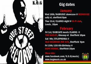 January and February Gig Dates 2013
